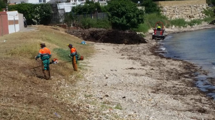 El Ayuntamiento de Algeciras adecenta la playa de 'El Chinarral'