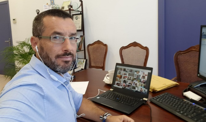Juan Franco, alcalde de La Línea, en el pleno virtual de la Diputación celebrado hoy