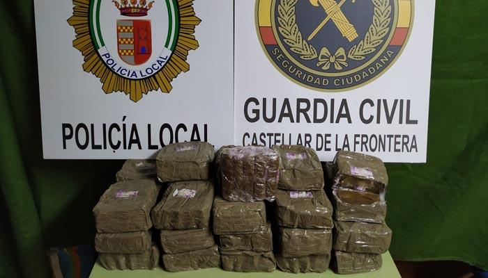 El hachís intervenido por Guardia Civil y Policía Local de Castellar.