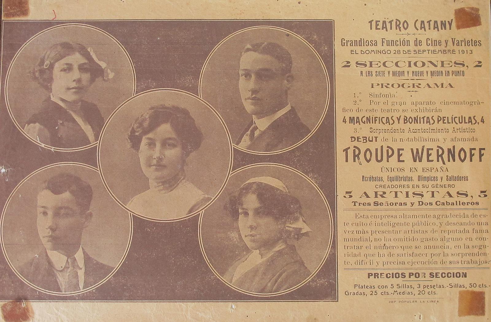 Programa de una de las actuaciones teatrales (Archivo Municipal de San Roque)