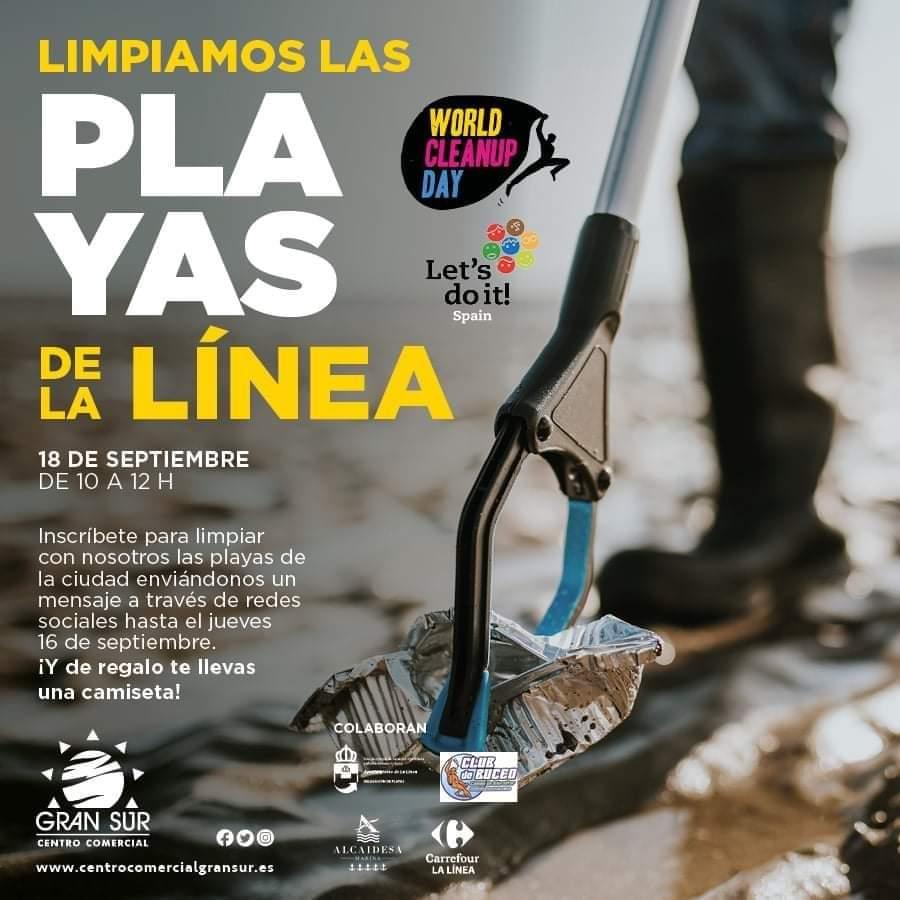 Cartel para el acto de limpieza de playas en La Línea. Foto NG