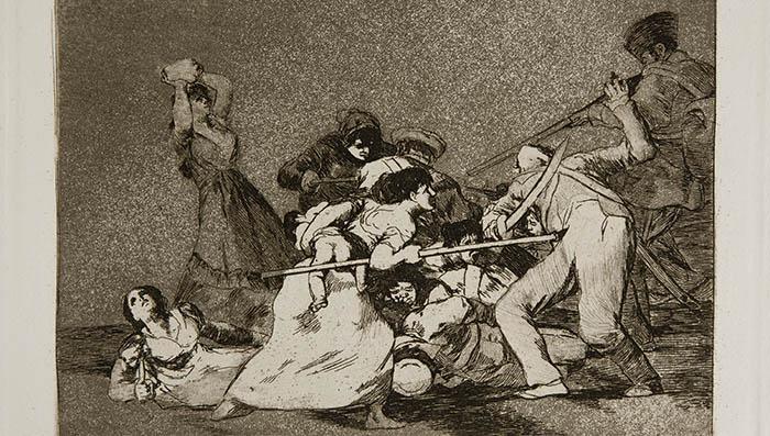 De la serie Los desastres de la guerra, del universal Francisco de Goya, la estampa Y son fieras, demostración de la lucha del pueblo contra los invasores franceses. Museo del Prado