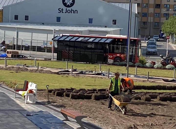 Trabajos en Mid Town Park. Foto GSD