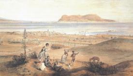 Algeciras con Gibraltar al fondo. Grabado de 1860