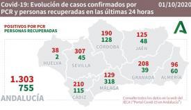 Andalucía suma 1.303 nuevos contagios por Covid-19