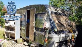 Autocaravana en la que los agentes de la Policía Nacional encontraron la droga