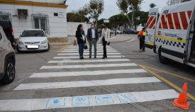 Uno de los pasos de peatones en los que se pintan los pictogramas