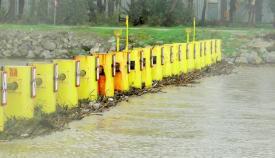 La barrera antinarcos del Guadarraque durante la tormenta Filomena