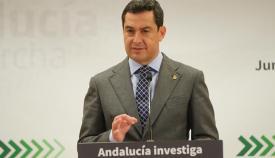El presidente de la Junta de Andalucía, Juanma Moreno, en el día de hoy