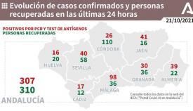 Andalucía supera los 300 casos diarios en la última jornada.