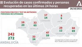 En Andalucia se han notificado 242 casos más de Covid-19.