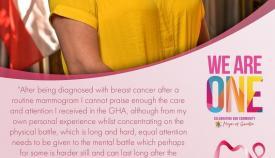 Cartel de la campaña sobre el cáncer de mama. Foto NG