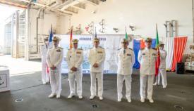 Los almirantes jefes de las Flotas de España, Francia, Italia y Portugal, junto al AJEMA español (centro), tras el acto de hoy en Rota. Foto ARMADA/Moisés Sanz