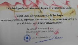 El escrito entregado por la Subdelegación del Gobierno. Foto: sanroque.es