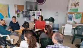 Ángela Aguilera, con sindicalistas y trabajadores de Tiempo Libre