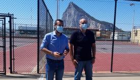 Juan Franco y Javier Vidal, esta mañana en la reapertura de las instalaciones