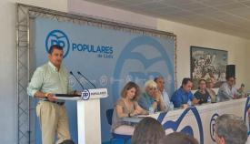 Antonio Sanz, durante la junta directiva provincial del PP en San Roque