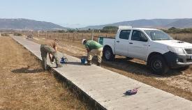 Imagen de los trabajos en la pasarela de Los Lances, en Tarifa