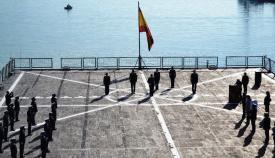 El 'Castilla', durante el relevo del jefe de Estado Mayor del Cuartel General Marítimo de Alta Disponibilidad. Foto ARMADA/CG Flota