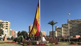 La bandera de España, en la rotonda Carlos III