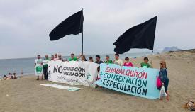 Banderas negras ecologistas en la playa de Guadalquitón