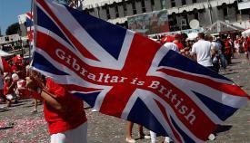 Bandera británica en el Dia Nacional de Gibraltar