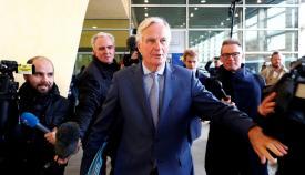 Michel Barnier, a su llegada esta mañana a la reunión