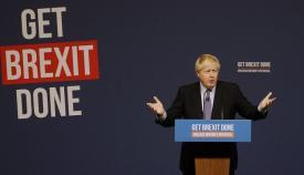 Boris Johnson, ayer durante la presentación de su manifiesto