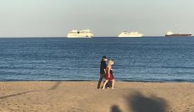 Varios buques en la zona de Levante más cercana al Peñón