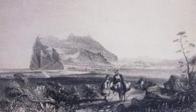 El Campo de Gibraltar y el Peñón al fondo. Grabado de la primera mitad del siglo XIX