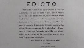 Edicto suspendiendo el Carnaval de San Roque en 1937