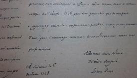 Imagen de parte de la carta y firma de Jorge I a Felipe V. Archivo Central de la Administración