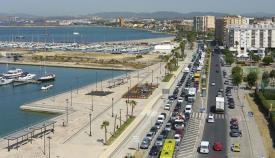 Imagen de retenciones de tráfico en las cercanías de Gibraltar