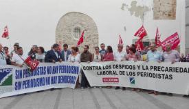 Reciente concentración de la asociación de la prensa contra la precariedad laboral