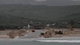 Obras de la segunda conexión en la playa de Tarifa. Foto Red Eléctrica de España