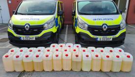 Los contenedores aprehendidos por la Policía de Gibraltar. Foto RGP