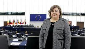 La eurodiputada Clara Aguilera, en la sede del Parlamento Europeo