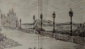 Mirador de Los Cañones, dibujo inédito de De Mena para el Parque de los Sitios. (Hemeroteca Histórica Francisco María Tubino)