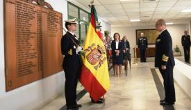 E l almirante Garat Caramé se despide de la Bandera, este mediodía, en la Base Naval de Rota. Foto ORP / CG Flota
