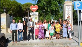 La señal contra la violencia de género instalada en la Alameda Alfonso XI de San Roque
