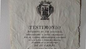 Documento donde se recogen los actos por la proclamación de Isabel II (Archivo Municipal de San Roque)