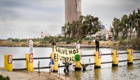Los ecologistas se amarran a los pilotes del Guadarranque