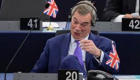 Nigel Farage (UKIP), durante un debate en el Parlamento Europeo
