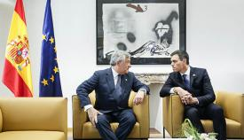 El presidente del Parlamento Europeo, Antonio Tajani y el presidente español, Pedro Sánchez