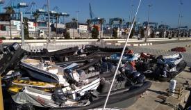 Embarcaciones apiladas en dependencias del Puerto de Algeciras