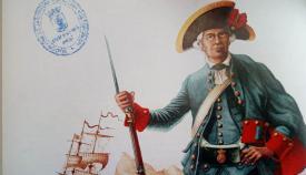 Miembro del cuerpo de Escopeteros. Dibujo de Carlos Bartual. Hemeroteca Histórica Municipal Francisco María Tubino. San Roque