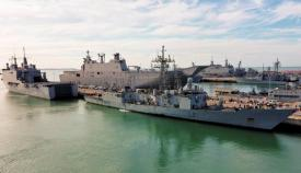 La fragata 'Santa María' atracada esta mañana en el muelle de la base de Rota. Foto Armada/CG Flota