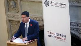 Fabian Picardo, en su discurso en Londres. Foto InfoGibraltar