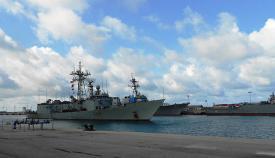"La F-83, ""Numancia"", atracado en la Base Naval de Rota. Foto Cuartel General de la Flota"