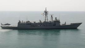 """La fragata """"Reina Sofía"""", de la Armada española, en unos recientes ejercicios en el Golfo de Cádiz. Foto: LR"""